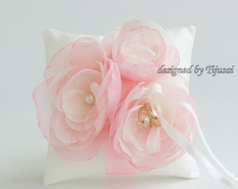 Wedding ring bearer pillow with pink/ivory flowers-ring bearer, ring cushion, ready to ship