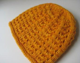 golden yellow merino wool lace hat