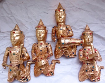 Siamese Musician Quartet - Gilded Carved Wood - 4 Instruments - Mirrored Jewels - Vintage 1970s Wall Hangings - Elegant  Thailand Folk Art