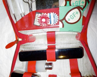 Vintage Red Leather Toiletries Case - Mini Spa Bath and Beauty Organizer and Storage Kit