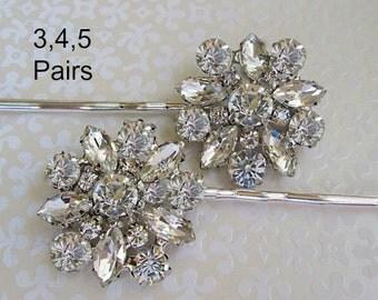 Set of 3 Bridesmaid Bobby Pin, Set of 4, Bridesmaid Hair Pins, Set of 5 Bridesmaids Gifts, silver Hair clips for bridesmaids