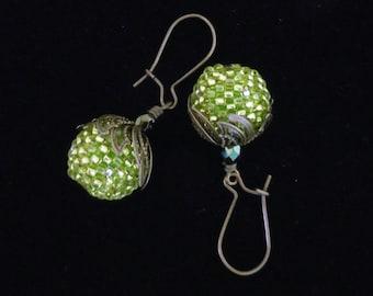 Green Beaded Earrings, Brass Leaf Earrings, Beaded Bead Earrings, Drop Earrings, Dangle Earrings, Handmade Earrings