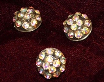 set of three vintage plastic and glass rhinestone buttons