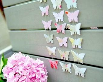 Butterfly garland, wedding garland, pink wedding, pink party decorations, butterfly party decorations, pink butterfly, dusty pink, blush