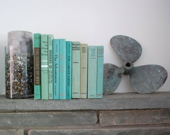 vintage aqua green vintage book group beautiful set of ten 10 books for home decor interior design collage art recycling