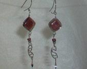 Purple Murano Diamond Shape Glass  Peruvian Style Earrings