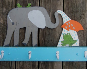ELEPHANT & FROG Kids Bathroom Towel Rack - Original Hand Crafted - Hand Painted