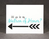 Will You Be My Matron of Honor Card, Select Color and Pattern, Asking Matron of Honor, Flat Rate Shipping