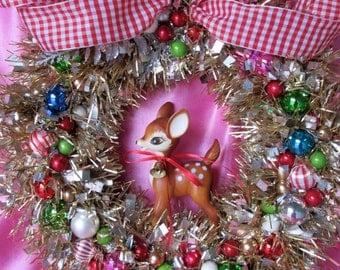 SALE..Vintage Christmas Reindeer Wreath..Gingham Ribbon...Handmade and OOak
