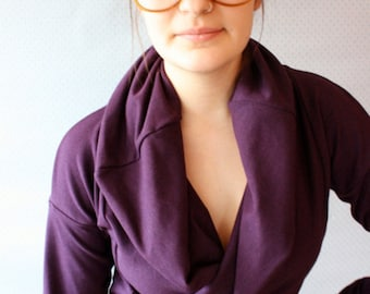 LAST ONE / plum purple / bamboo french terry cowl top / nursing breastfeeding shirt / made to order / by replicca  /size small to xtra large