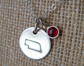 Nebraska State Necklace--Nebraska Jewelry-Nebraska Gift-Nebraska Charm-Silver Nebraska- State of Nebraska Necklace- Nebraska