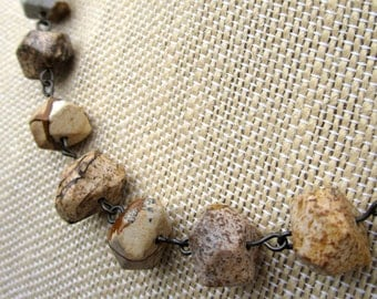 Sands of Time Necklace - faceted picture jasper stone beads on  bronze necklace - Free Shipping to USA