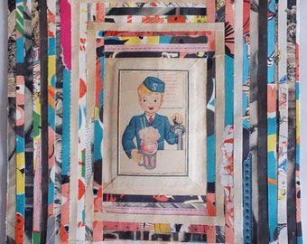 "SODA JERK Orig 8""x10"" Collage Art Vintage Paper Collage HANDMADE Pop Collage Soda Fountain Art Mixed Media Home Decor Affordable Art"