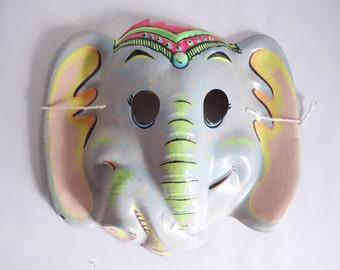 60s CIRCUS ELEPHANT Mask Vintage Vacuform Halloween Mask Cute ANIMAL Mask Collectible Wall Hanging Display