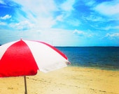 Beach Umbrella Photo, Beach Photography, Red, White, Blue, Beach Cottage Decor, Summer Decorating, Sun Parasol, Wall Art, Seashore Vacation