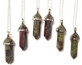 Bloodstone Immune Booster. Vertical hexagon double pointed pendant. 15, 16, 18, 20, 22, 24, 26, 28, or 30 inch layering necklace in silver