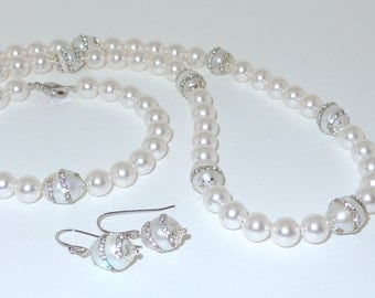 Swarovski Pearl Bridal Set Necklace Bracelet Earrings Wedding Rhinestone Accents in White Beaded Crystallized and Freshwater Pearls