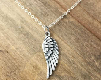 Sterling silver bird wing necklace