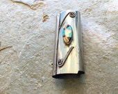 Vintage Native American lighter cover with turquoise on nickel silver