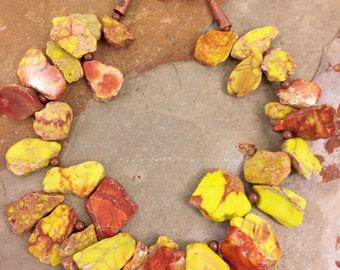 Sediment jasper and copper statement necklace