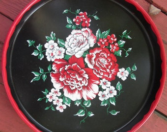 Vintage Tin Tray - Red and Black Floral Tray - Serving Tray