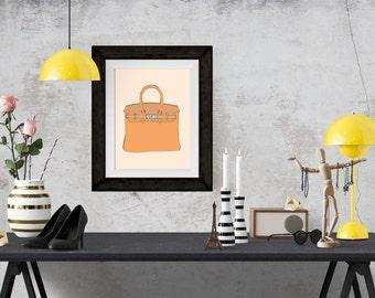 Hermes Birkin Brown Fashion Illustration Art Poster