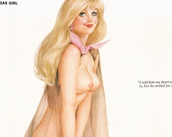 "Original Vargas Girl Pin-Up November 1972 Vintage Playboy Nude Mature Art ""My heart wasn't in it..."" 2 Page Gatefold"
