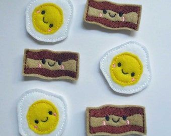 Bacon and Eggs  Felt Embroidered Embellishments - 409