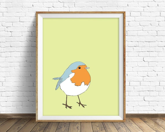 "robin, robin print, robin art, bird, nursery decor, nursery art print, nursery wall art, large art, large wall art, birds - ""Little Robin"""