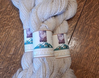 Alpaca Yarn Natural Beige Worsted Weight for Knitting, Crochet, and Weaving Projects Handmade