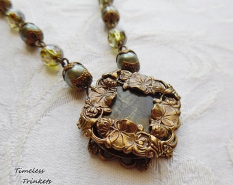 Water Lilies, Antique Mother of Pearl Button Necklace- Sage Green