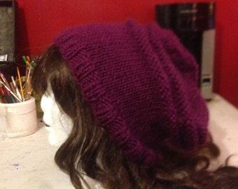 Purple Striped Oversized Slouchy Beanie