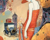 ART PRINT on SILK Roaring 20s Lady in Red with big hat and an Old Timey Car  - Crazy Quilt silky Embellish Applique Fiber Arts