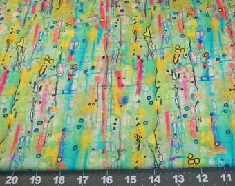 Fabric Fat Quarter - JOY of LIFE from p & b Textiles - Electric, Eclectic Raindrops - amazing mix of bright colors