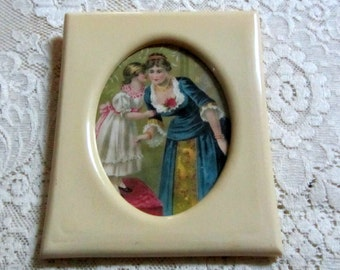 Vintage Cream Color Celluloid Frame with Vintage Picture of Woman & Girl 1940s