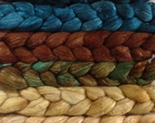 Hand Dyed gradient roving pack over 6ozs polwarth mulberry silk 70/30 ready to ship