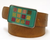 autumn leaves squared buckle in minty blue