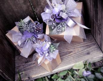 Holiday Trim Gift Box, Lavender Gift Box, Christmas Gift Box, Gift Packaging, Holiday Packaging, Purple Gift Box, Holiday Decor, Kraft Gift