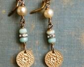 Gold charm earrings,pearl ,rhinestone, light green wedding earrings. tiedupmemories