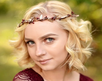 red wedding crown   gold christmas crown   winter wedding flower crown   marsala flower crown   flower crown burgundy   red christmas rustic