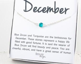December Birthstone Silver Necklace, December Blue Zircon Swarovski Birthstone Silver Necklace, December Birthstone Jewelry, Gifts Under 20