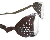 Steampunk Antique Goggles WILLSON Steampunk Goggles Glasses Brown PERFORATED LEATHER Side Shields Metal Case CoOL - Steampunk by edmdesigns