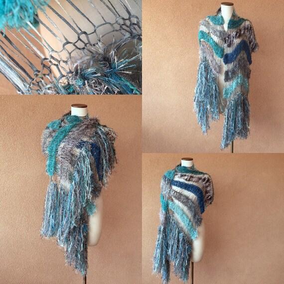 Teal Shawl Aqua Scarf Ocean Seafoam Turquoise Grey Black White Charcoal Hand Knit Striped Fringe Shawl Wrap Cape
