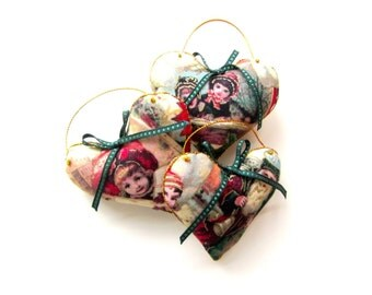 Set of 3 Ornaments, Victorian Glitter Print Heart Ornaments