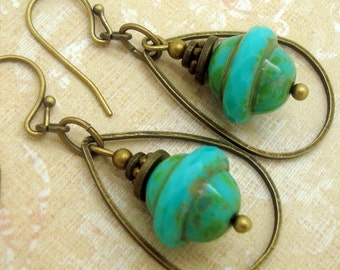 Bohemian Earrings with Turquoise Blue Glass Saturn Beads and Brass Teardrop Shaped Hoop