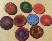 Sacred Geometry necklaces Labyrinth  necklaces mixed media necklaces on shrink plastic mixed-media style on leather sari silk satin cording