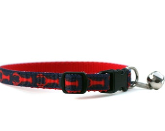 3/8 Wide Collar for Cat or Tiny Puppy in Stars in Lobsters