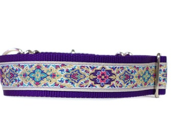 Wide 1 1/2 inch Adjustable Buckle or Martingale Dog Collar in Kaleidoscope