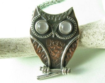 Owl Necklace, Copper, Sterling Silver And Moonstone Necklace, Gemstone Necklace, Owl Pendant, Art Jewelry, Owl Jewelry, Moonstone Jewelry