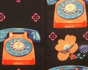 Navy Blue Telephones FQ or 1/2 Yard - Melody Miller OOP